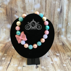 Pink & Aqua Pearls Chunky Bubblegum Necklace Girls Baby Birthday Outfit Baby Shower Gift