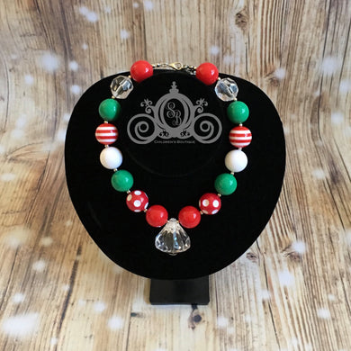 Red & Green Christmas Chunky Bubblegum Necklace