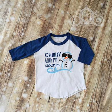 Chilling with My Snowmies Unisex Christmas Raglan