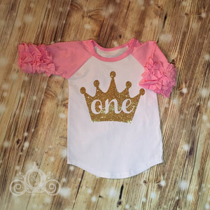 Birthday Number w Gold Glitter Crown Custom Icing Ruffle Raglan