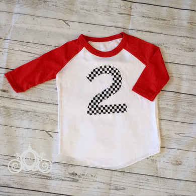 Checkered Flag Custom Unisex Raglan Personalized Shirt Girl Boy Birthday Baby Shower Gift Toddler Shirt