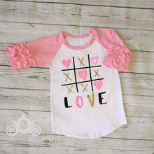 Tic Tac Toe Love Valentine Custom Ruffle Raglan Personalized Shirt Girl Baby Toddler Shirt