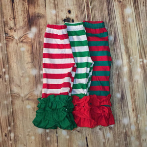 Christmas Stripe Ruffle Pants