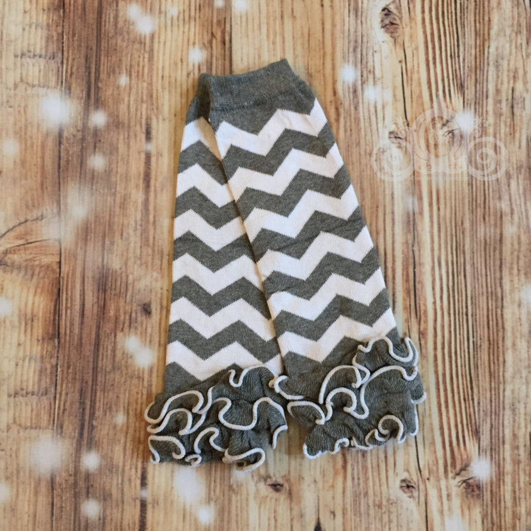 Gray & White Chevron Leg Warmers