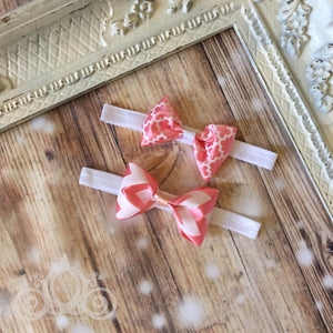 Blush Pink Peach Satin Bow w Headband