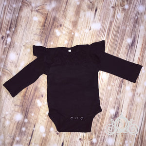 Baby Girls L/S Black Ruffle Neck Onesie
