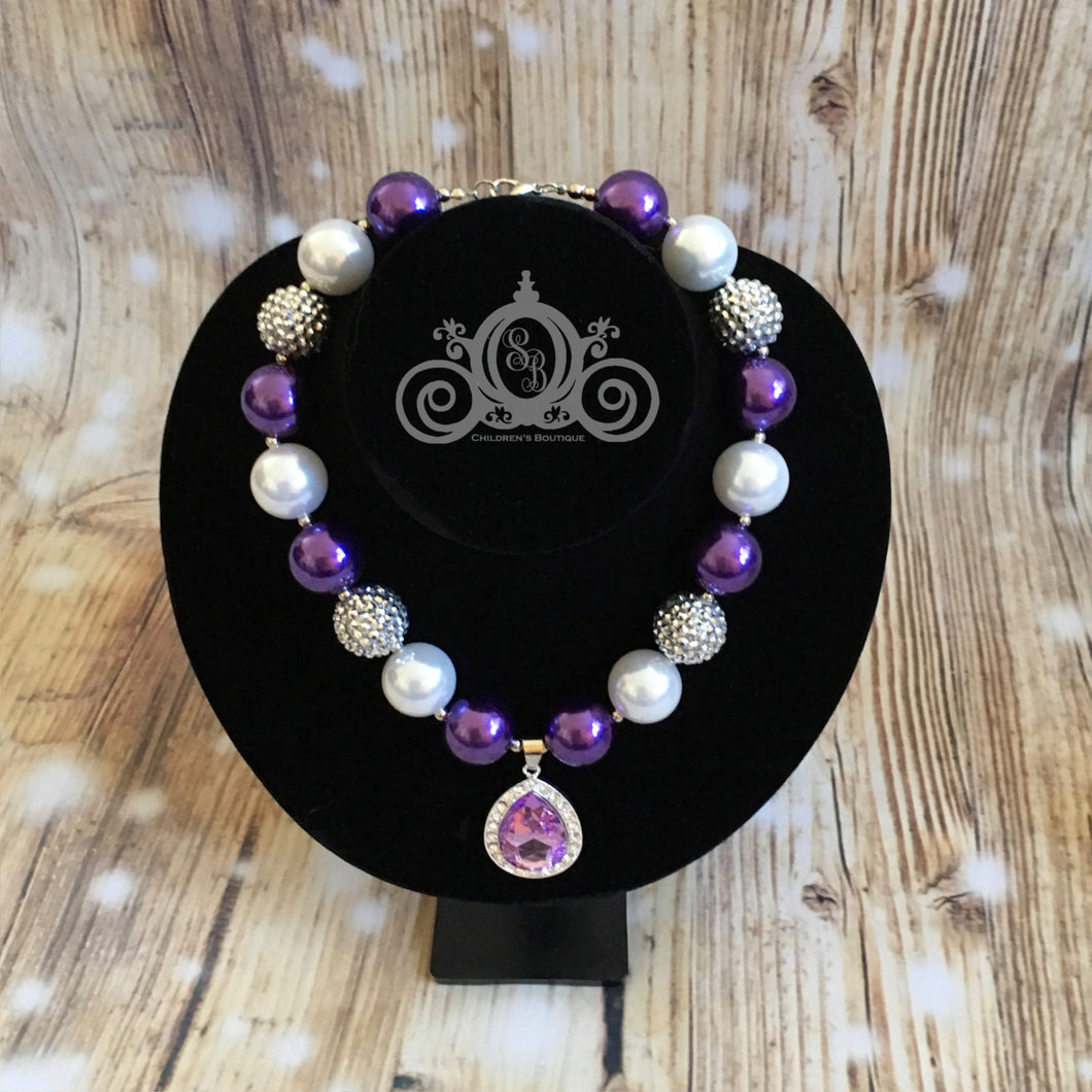 Purple Jewels Chunky Bubblegum Necklace Girl Baby Shower Gift Birthday Outfit Princess
