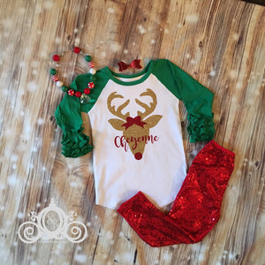 Girls Christmas Reindeer Monogram Shirt