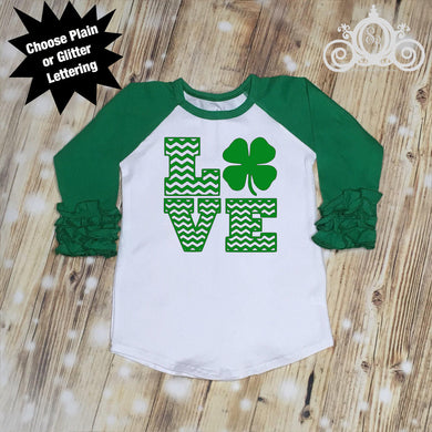 Shamrock LOVE Girls St Patty's Day Shirt