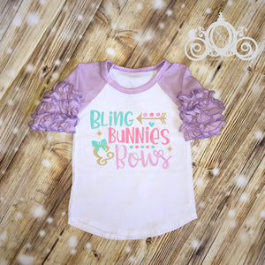 Bling Bunnies and Bows Girls Easter Ruffle Shirt