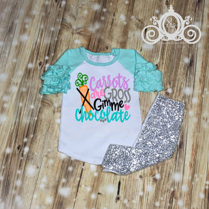 Carrots are Gross Give Me Chocolate Girls Easter Shirt