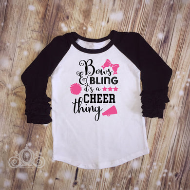 Bows & Bling It's a Cheer Thing Custom Ruffle Raglan Personalized Shirt Girl Baby Toddler Shirt