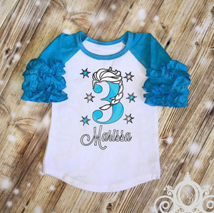 Princess Elsa Braid Frozen Birthday Shirt | Ruffle Raglan Personalized w Name & Age