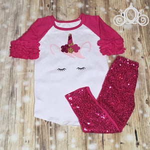 Unicorn Face Girls Birthday Outfit