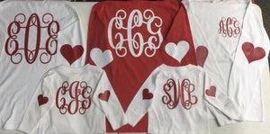 Children's Valentine Monogram w Heart Sleeves