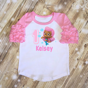 Bubble Guppies Molly Birthday Shirt | Ruffle Raglan Personalized w Name & Number