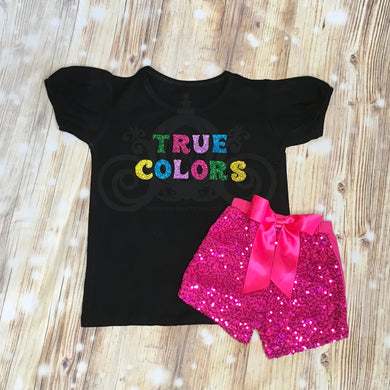 Trolls True Colors Glitter Birthday Outfit w Sequin Shorts