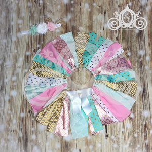 Custom Themed Shabby Fabric Tutu w Headband
