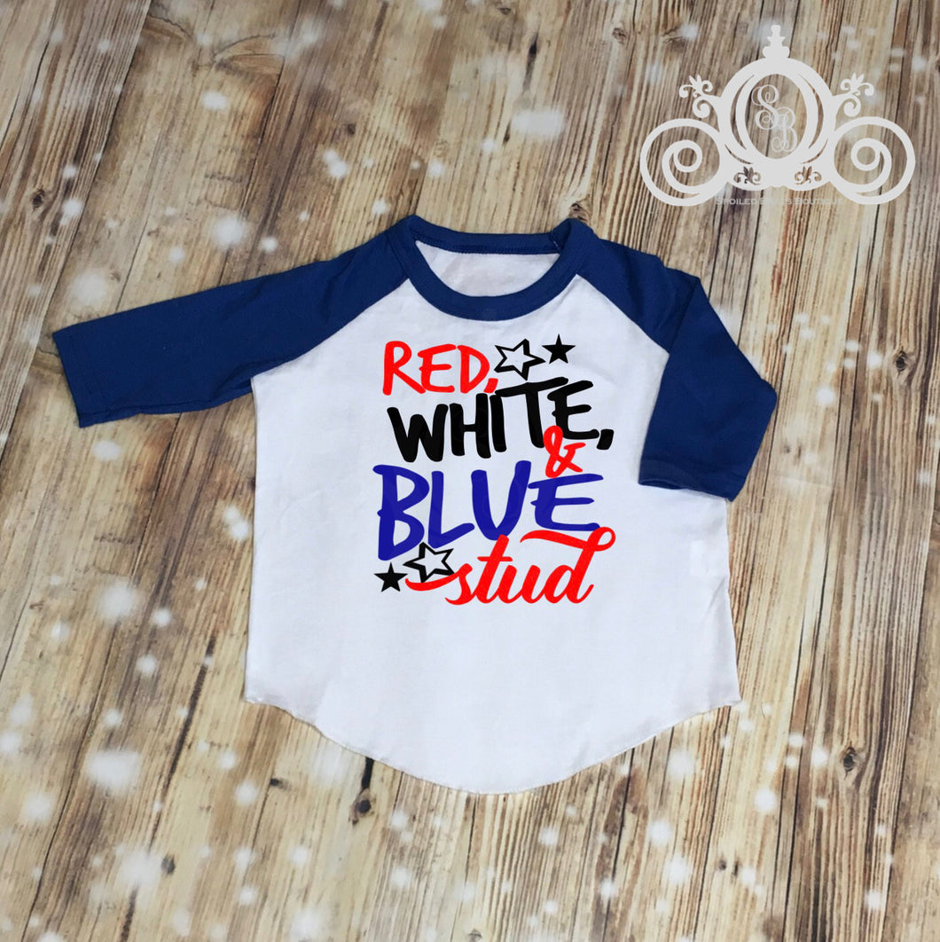 Red, White & Blue Stud Boys Fourth of July, 4th of July Shirt