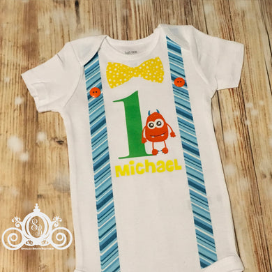 Monster Birthday Onesie or Shirt Personalized with Bow tie, Age and Name