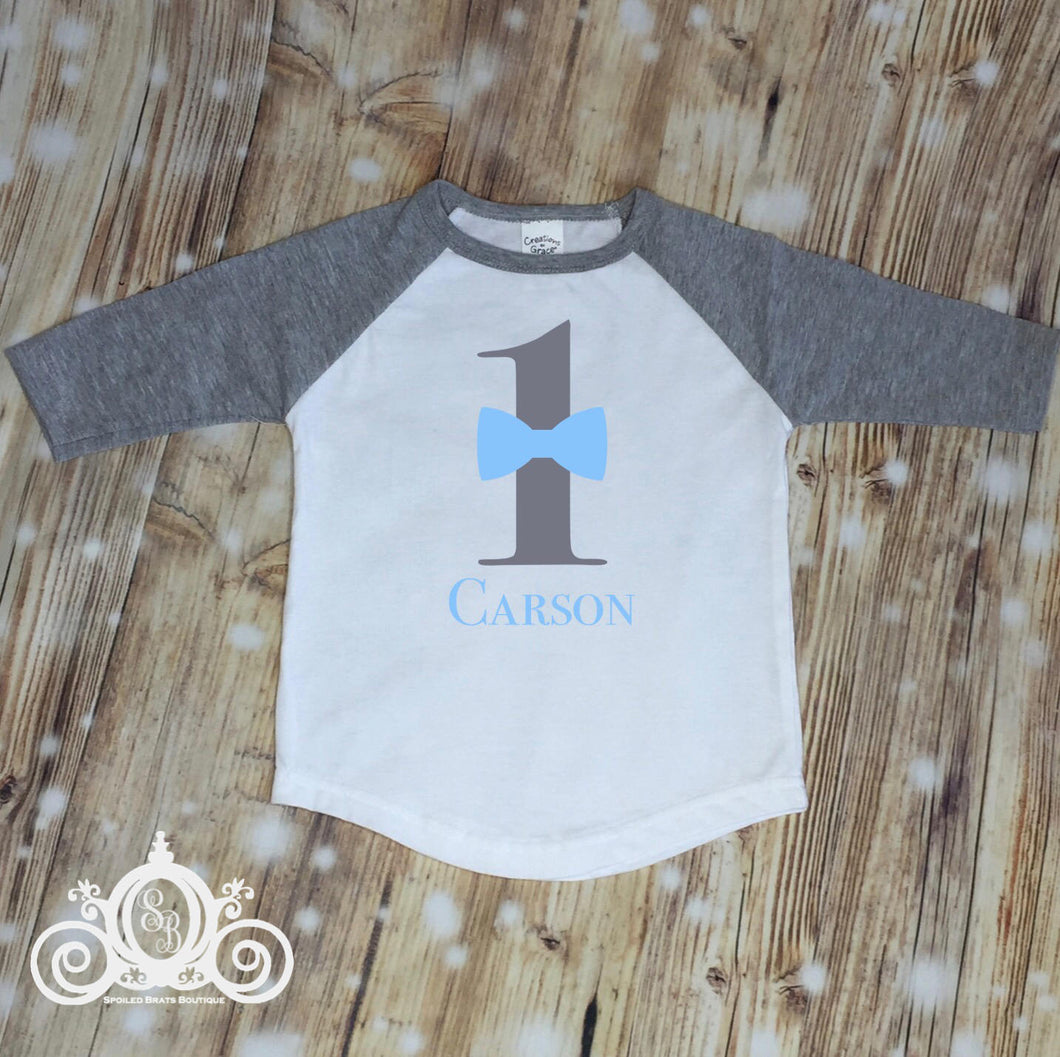 Birthday Boy Shirt Personalized with Bow Tie, Age and Name