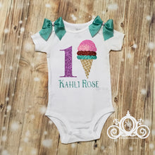 Ice Cream Birthday Onesie w Tutu, Personalized w Name & Age, First Birthday Shirt