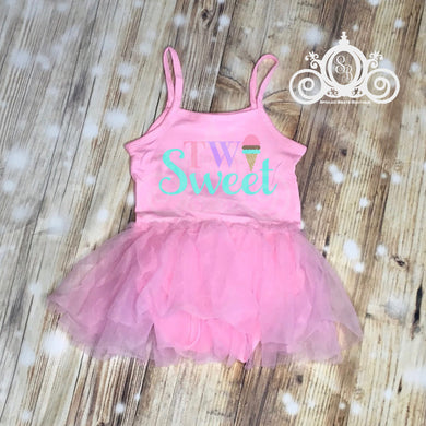 Two Sweet Ice Cream Tutu Dress, First Birthday Dress, Ice Cream Tutu Romper, Girls First Birthday Outfit, Birthday Leotard