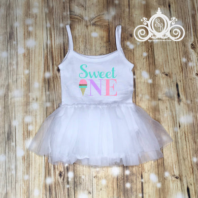 Sweet One Ice Cream Tutu Dress, First Birthday Dress, Ice Cream Tutu Romper, Girls First Birthday Outfit, Birthday Leotard