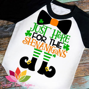 Just Here for the Shenanigans Boys St Patty's Shirt