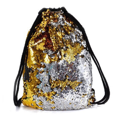 Silver & Gold Reversible Sequin Drawstring Bag by Pillow Blingz