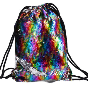 Silver & Rainbow Reversible Sequin Drawstring Bag by Pillow Blingz