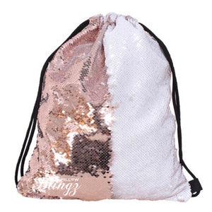White & Rose Gold Reversible Sequin Drawstring Bag by Pillow Blingz
