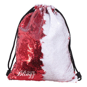 White & Red Reversible Sequin Drawstring Bag by Pillow Blingz