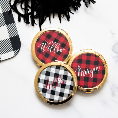 Plaid Personalized Compact Mirror