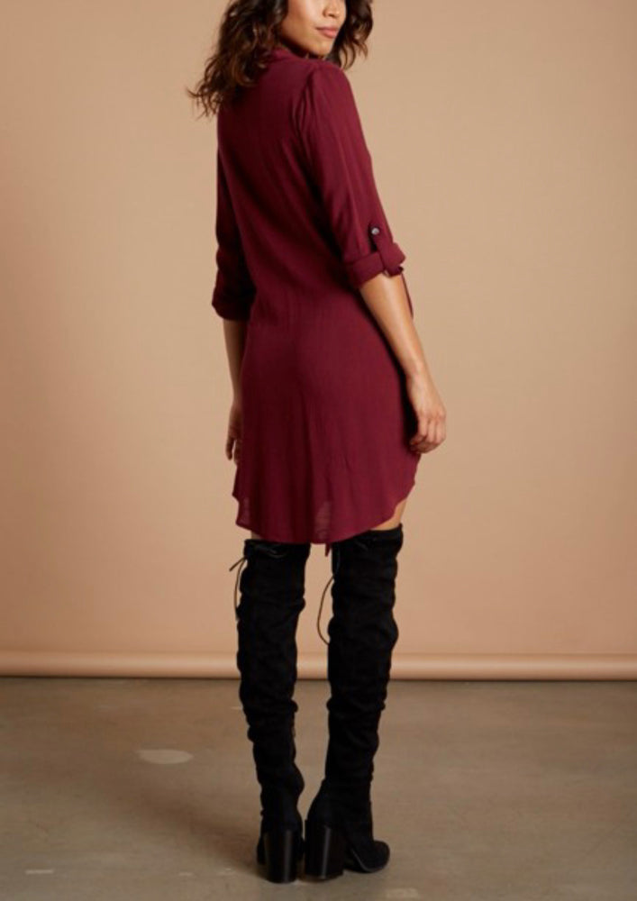 Shirt Dress in Burgundy