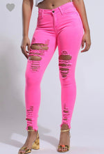 Neon Pink Distressed Denim