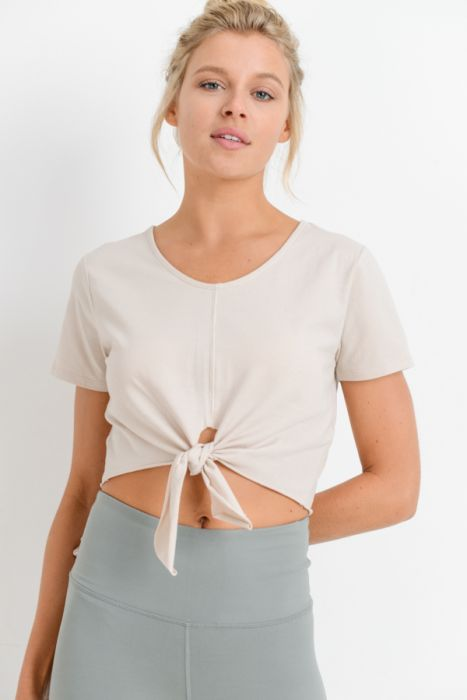 Tie Front Crop Top in Natural