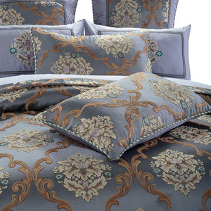 Sibylla Cotton Stain Coffee Brown Jacquard Duvet Cover Set