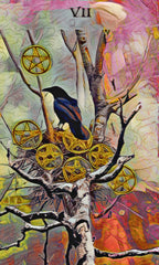 seven of pentacles - crow tarot