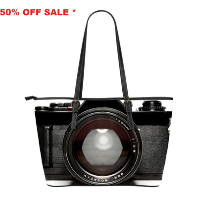 Vintage Camera 2 Small Leather Tote