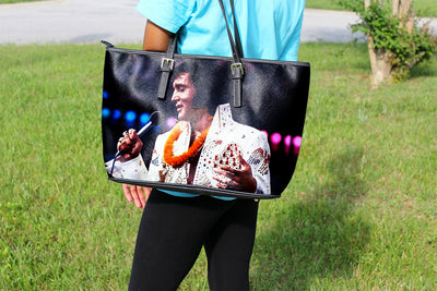Elvis Singing Large Leather Tote
