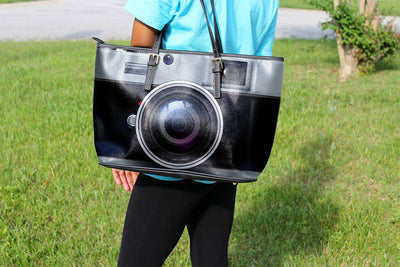 Vintage Camera Small Leather Tote