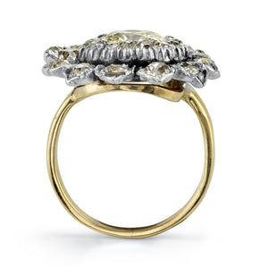Silver, gold and diamond ring