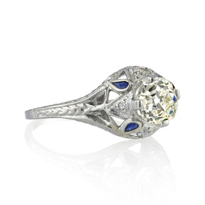 Edwardian Diamond and Blue Sapphire Ring