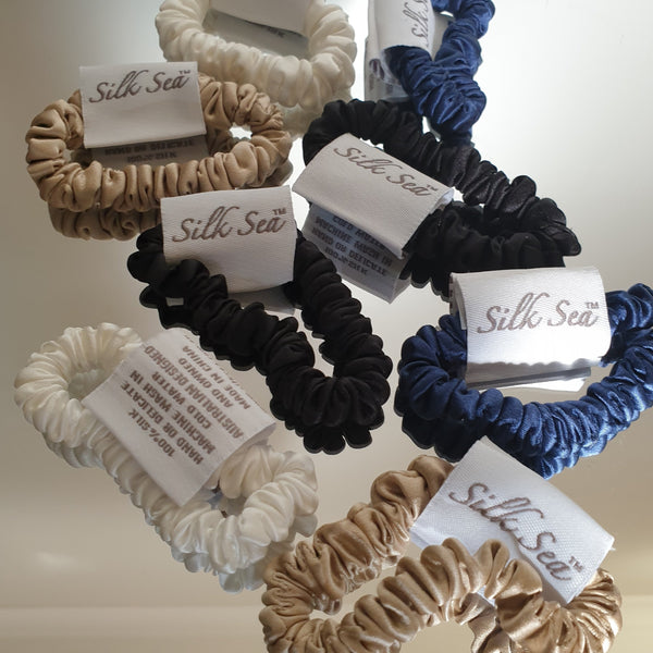 Silk Sea Luxury 100% mulberry silk tiny scrunchies in black,gold,ivory & navy