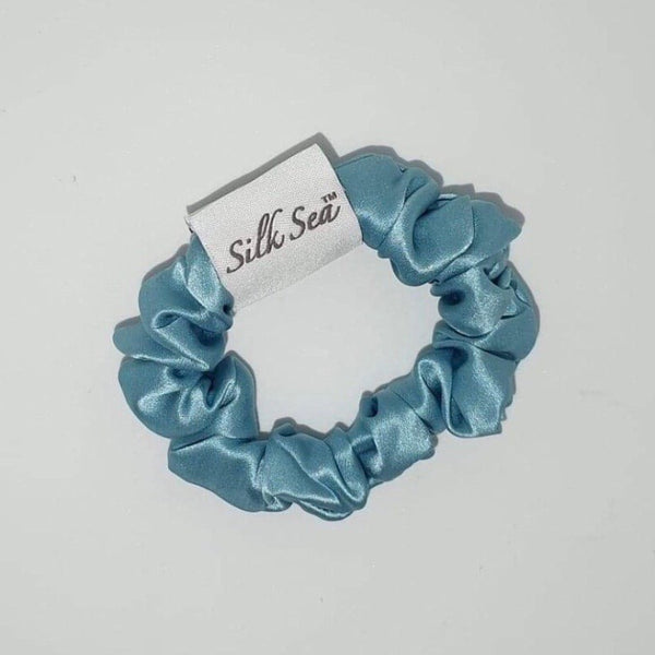 Silk Sea Luxury 100% mulberry silk scrunchie in silk sea