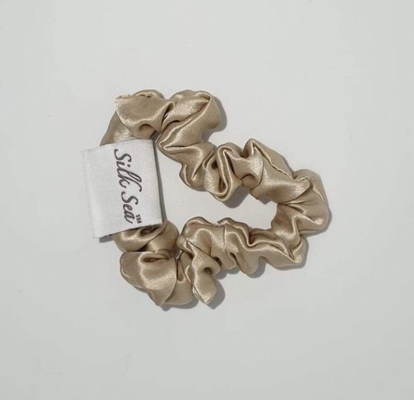 Silk Sea Luxury 100% mulberry silk scrunchie in gold