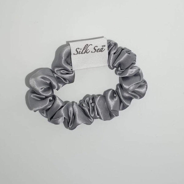 Silk Sea Luxury 100% mulberry silk scrunchie in silver