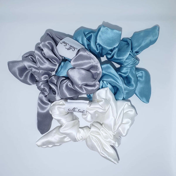 Silk Sea Luxury 100% mulberry silk scrunchie in silver, silk sea and ivory