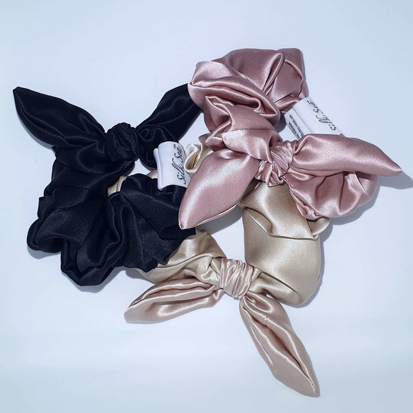 Silk Sea Luxury 100% mulberry silk scrunchie in black, blush and gold
